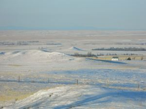 Snow blanketing the prairie of Western Nebraska