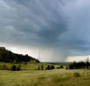 Late summer storm cell rains down.