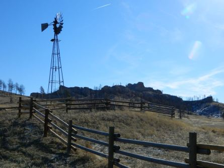 windmill at Roberts Trailhead, part of the Pine Ridge National Recreation area.