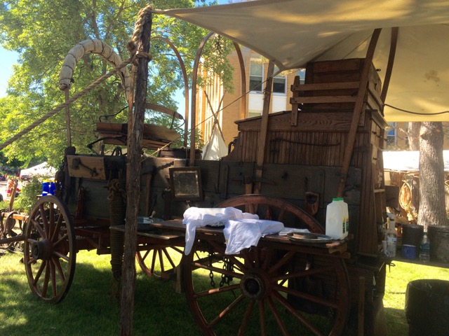 Deckerd's Historic Chuckwagon, most of the hand-forged implements hang on the sideboards available at a moments need.