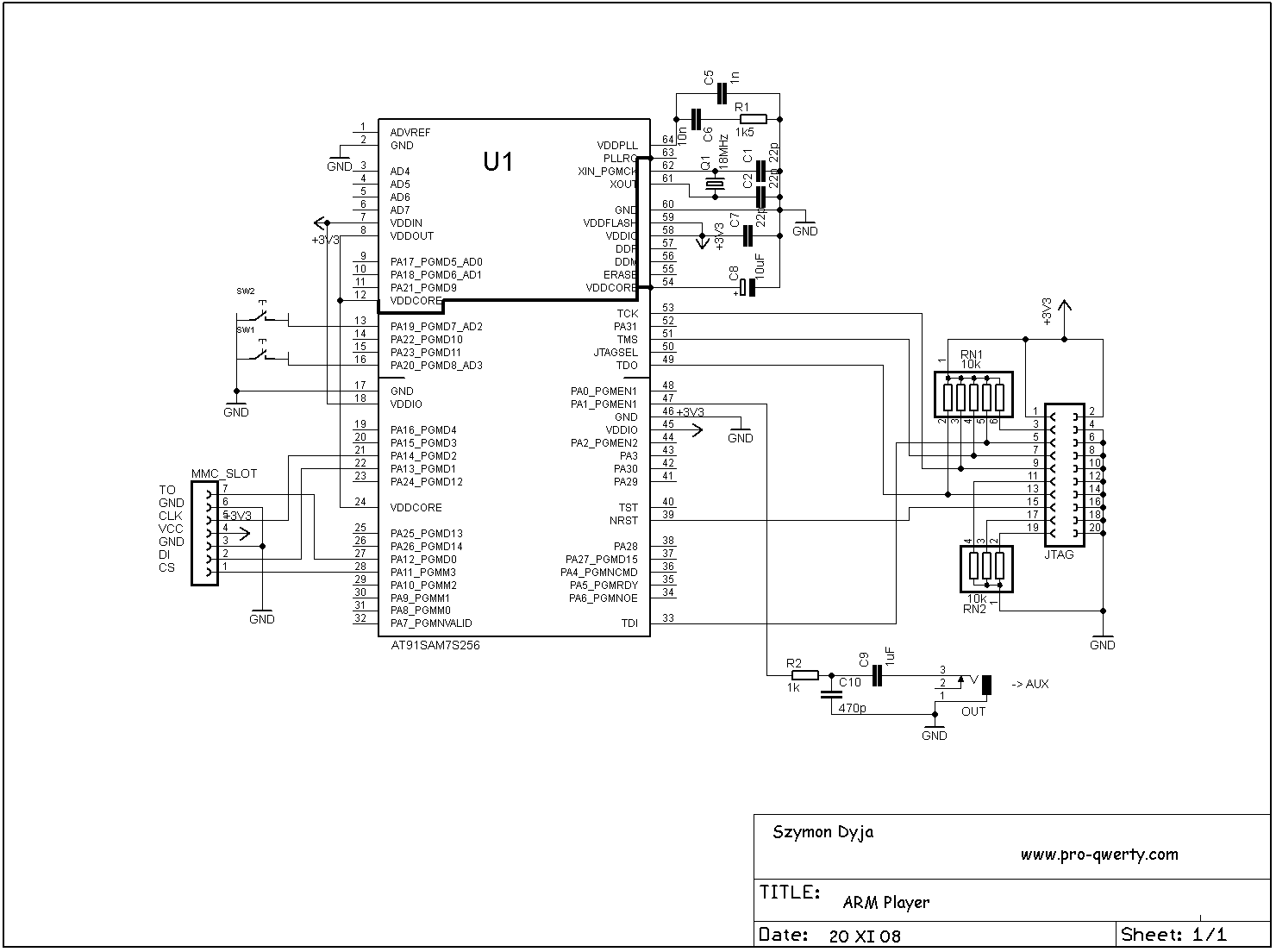 Music Player Built On Microcontroller At91sam7s256 With