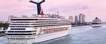 Cruise Ships leaving Miami harbor