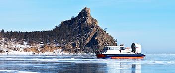 Lake Baikal in winter. The hovercraft Khivus