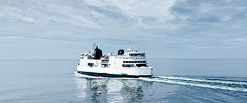 Ferry on open sea