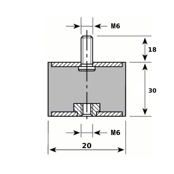 Tampon caoutchouc Silentbloc Ø 20 x 30 mm • 1 Tige filetée M6 x 18 mm 1 taraudage M6