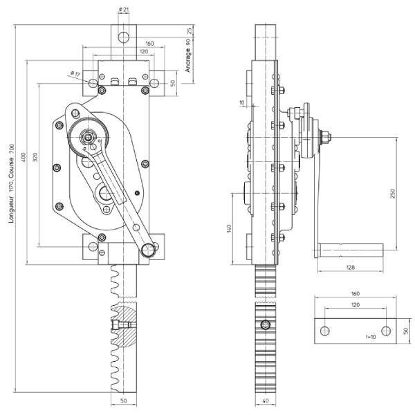Treuil  à crémaillère à vis sans fin en acier (version traction et pression) • 5000 kg
