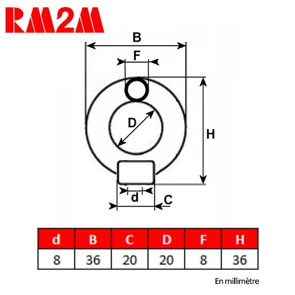 Anneau              de levage haute résistance – Taraudage M8 – CMU 140 kg
