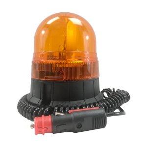 Gyrophare compact orange • câble 3m spiralé avec prise allume-cigare • Hauteur verrine 120 mm