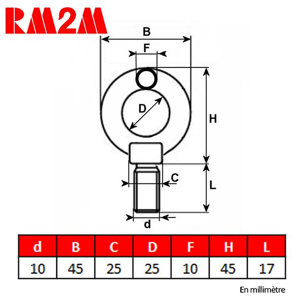 Anneau           de levage haute résistance – Tige filetée M10 – CMU 230 kg