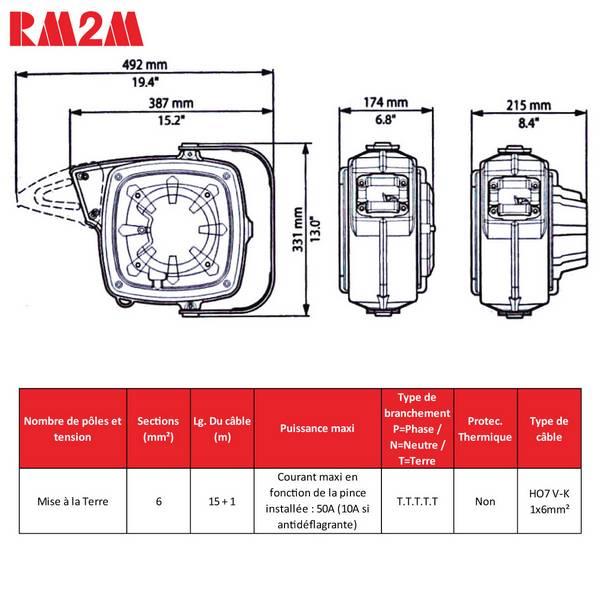Enrouleur de câble à rappel automatique • Câble de mise à la terre • 16m • Série 280