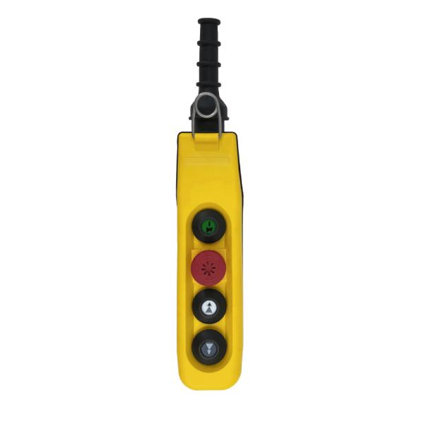 Boîte à boutons 2 boutons (2 crans) + 1 arrêt d'urgence + Marche/Klaxon pour circuit de commande
