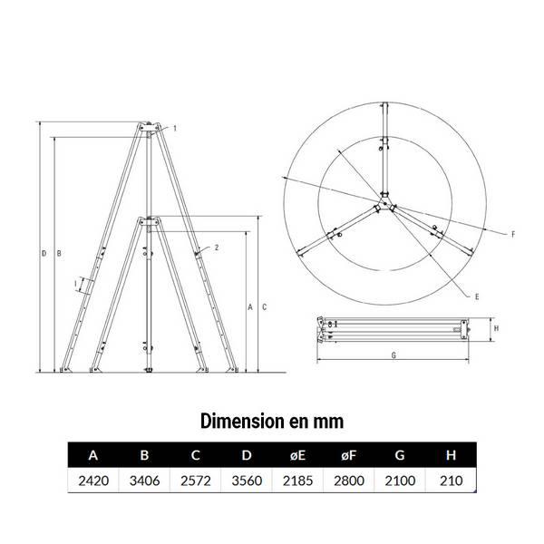 Tripode  500kg levage de 2,42 m à 3,4 m