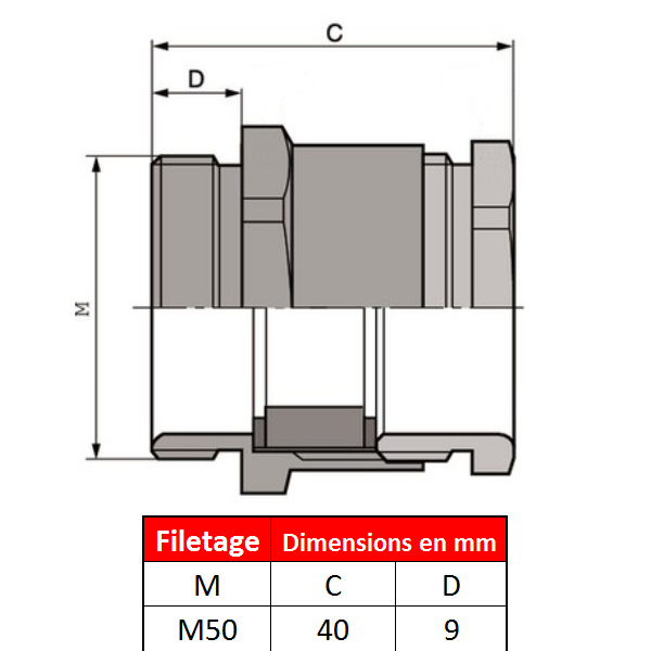 Presse étoupe en laiton nickelé M50 x 1,5