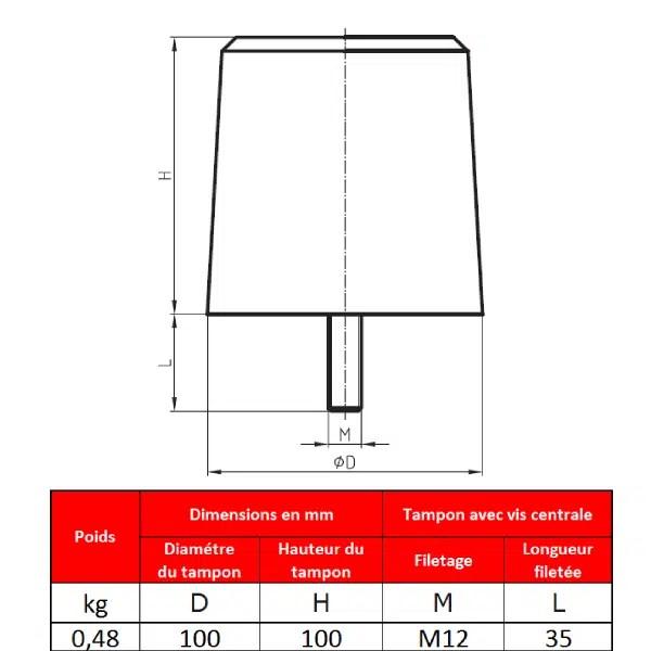 Tampon            amortisseur en polyuréthane élastomère M12 x 35 • Ø100 x 100 mm