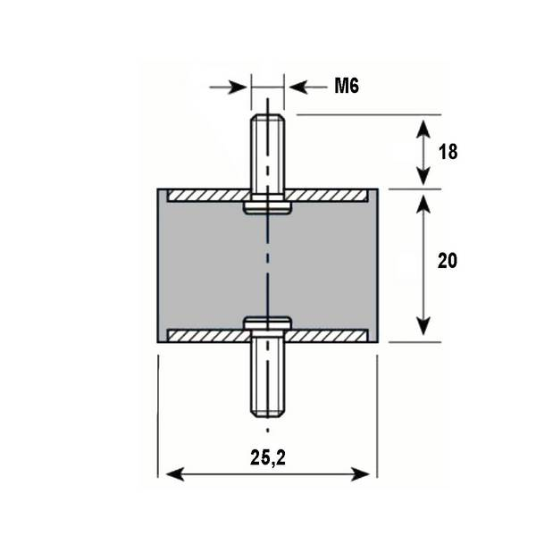 Tampon caoutchouc Silentbloc Ø 25,5 x 20 mm • 2 Tiges filetées M6 x 18 mm