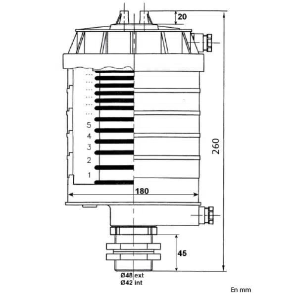 Collecteur     électrique PRP 6 bagues, avec lamelles, 20A