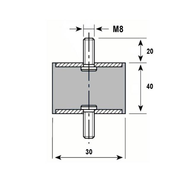 Tampon caoutchouc Silentbloc Ø 30 x 40 mm • 2 Tiges filetées M8 x 20 mm