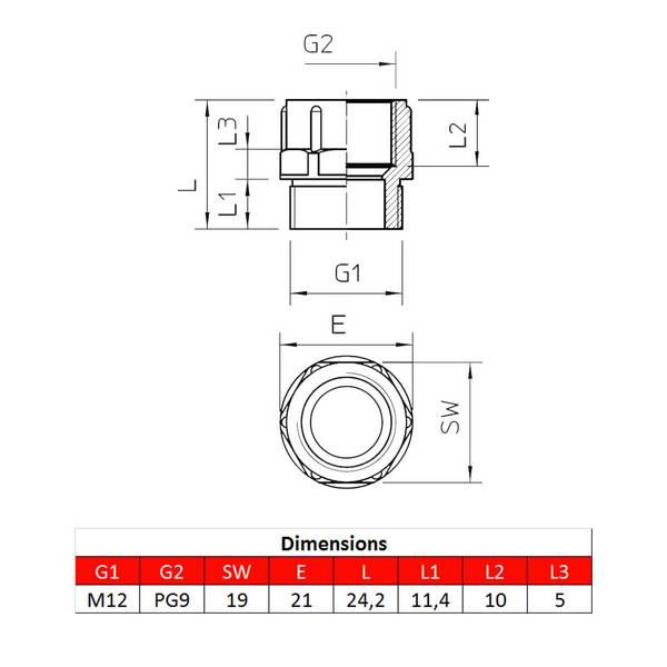 Adaptateur • M12 – PG9 • pour presse-étoupe