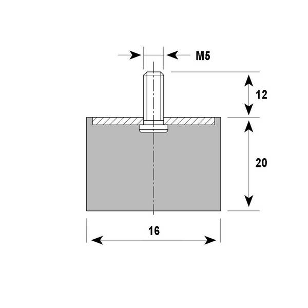 Tampon                                amortisseur cylindrique caoutchouc Ø16 x 20 mm • Tige filetée M5 x 12 mm