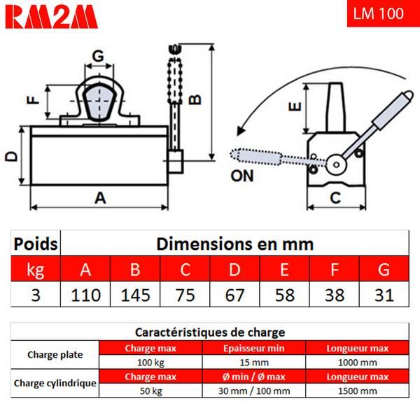 Aimant          de levage 100 kg • LM100