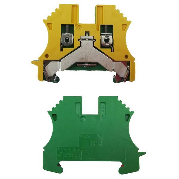 Borne de terre pour montage sur rail oméga pour fil 16 mm² (serrage par vis)