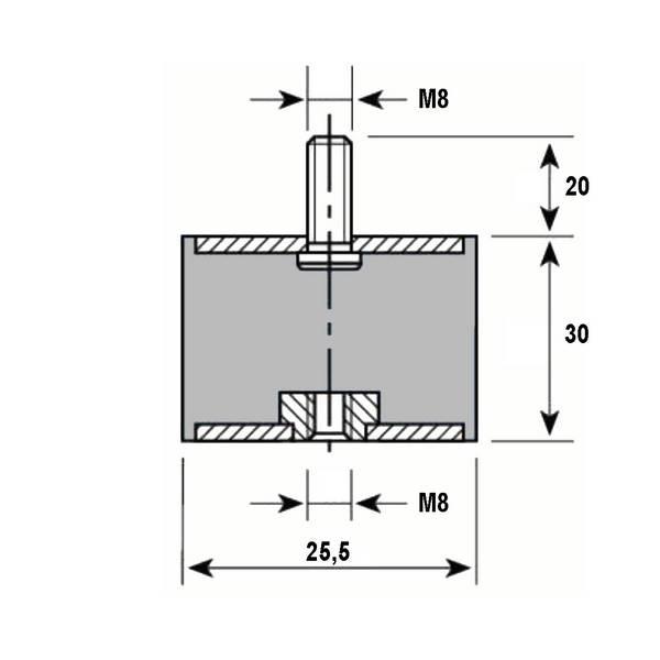 Tampon caoutchouc Silentbloc Ø 25,5 x 30 mm • 1 Tige filetée M8 x 20 mm et 1 taraudage M8