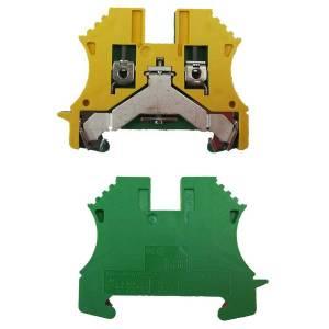 Borne de terre pour montage sur rail oméga pour fil 50 mm² (serrage par vis)