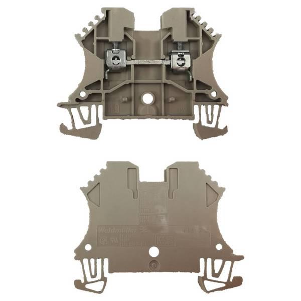 Borne pour montage sur rail oméga pour fil 6 mm² (serrage par vis)