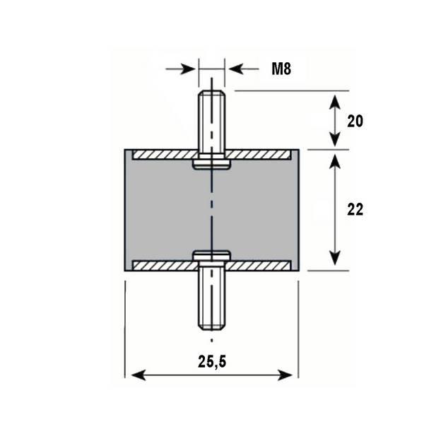 Tampon caoutchouc Silentbloc Ø 25,5 x 22 mm • 2 Tiges filetées M8 x 20 mm