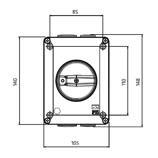 Interrupteur sectionneur 3P cadenassable en coffret acier •      32 A