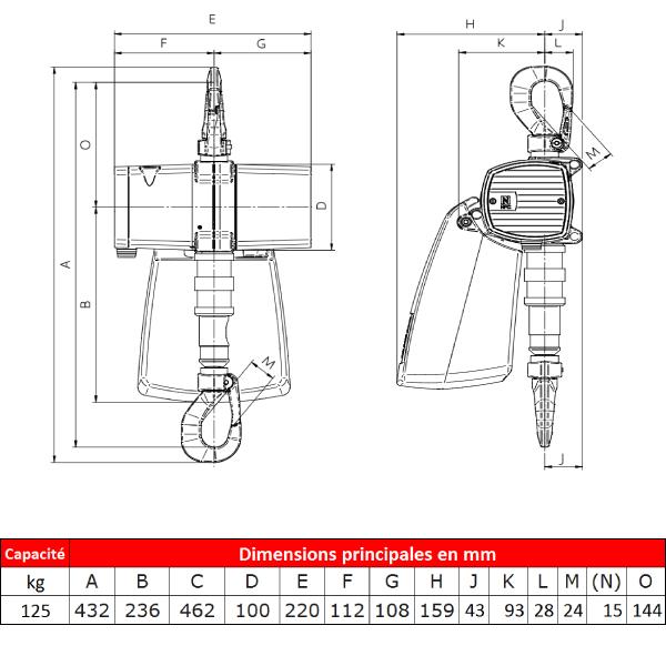 Palan                 pneumatique J.D. Neuhaus ATEX • Spéciale alimentation et industrie pharmaceutique • 125 kg