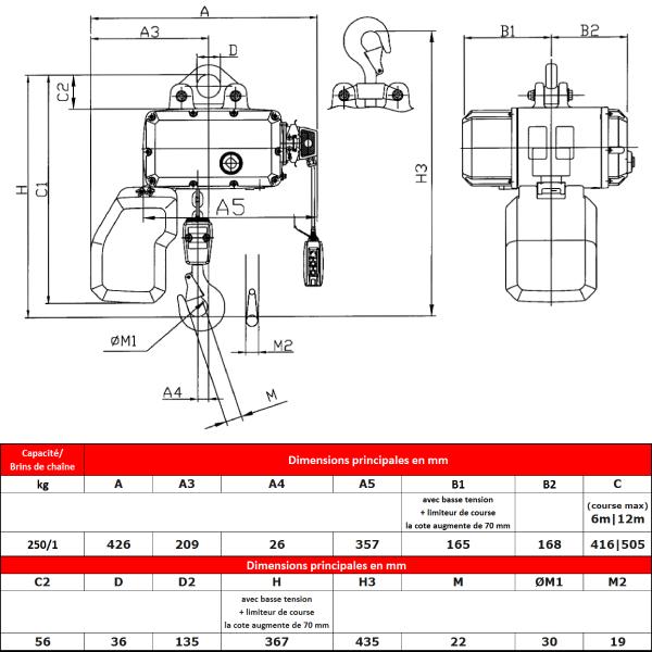 Palan électrique HADEF  250 kg