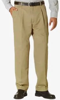 Dockers Comfort Fit Pleated Cuffed Khaki Front Side