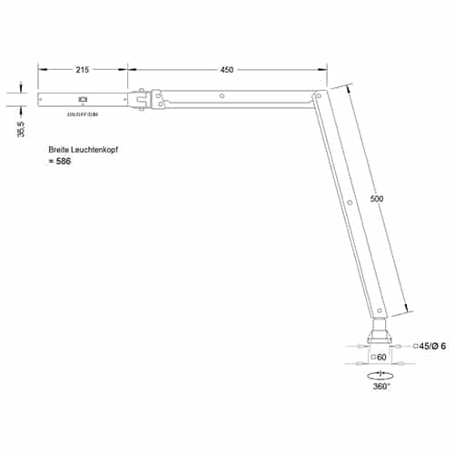 LED Articulated Lamp technical drawing