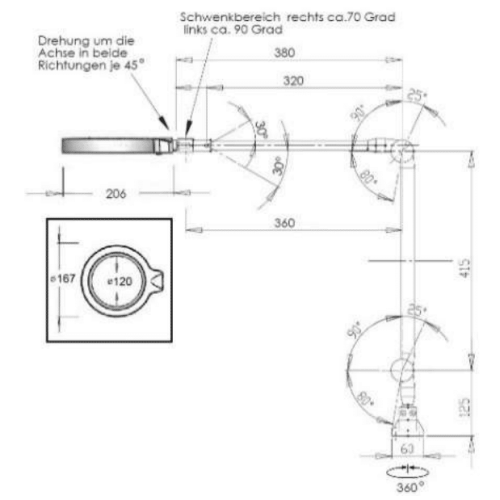 LED Magnifying Lamp RLL Pro technican drawing