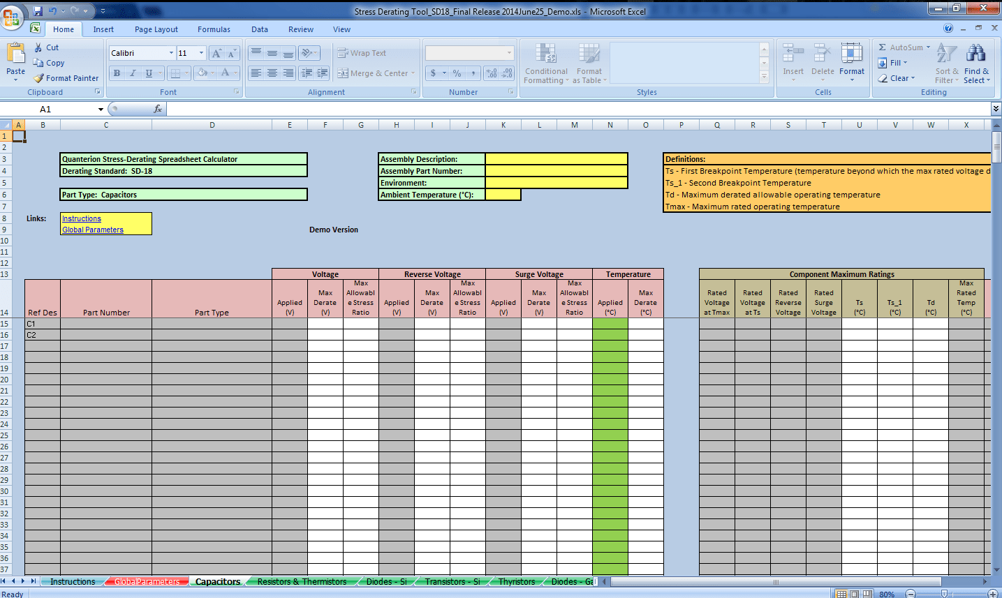 Stress Derating Spreadsheet Calculator Sd 18 Derating Standard Rmqsi Knowledge Center