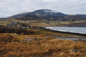 Looking from An Corran, Staffin Bay towards The Quiraing. Sally Harris
