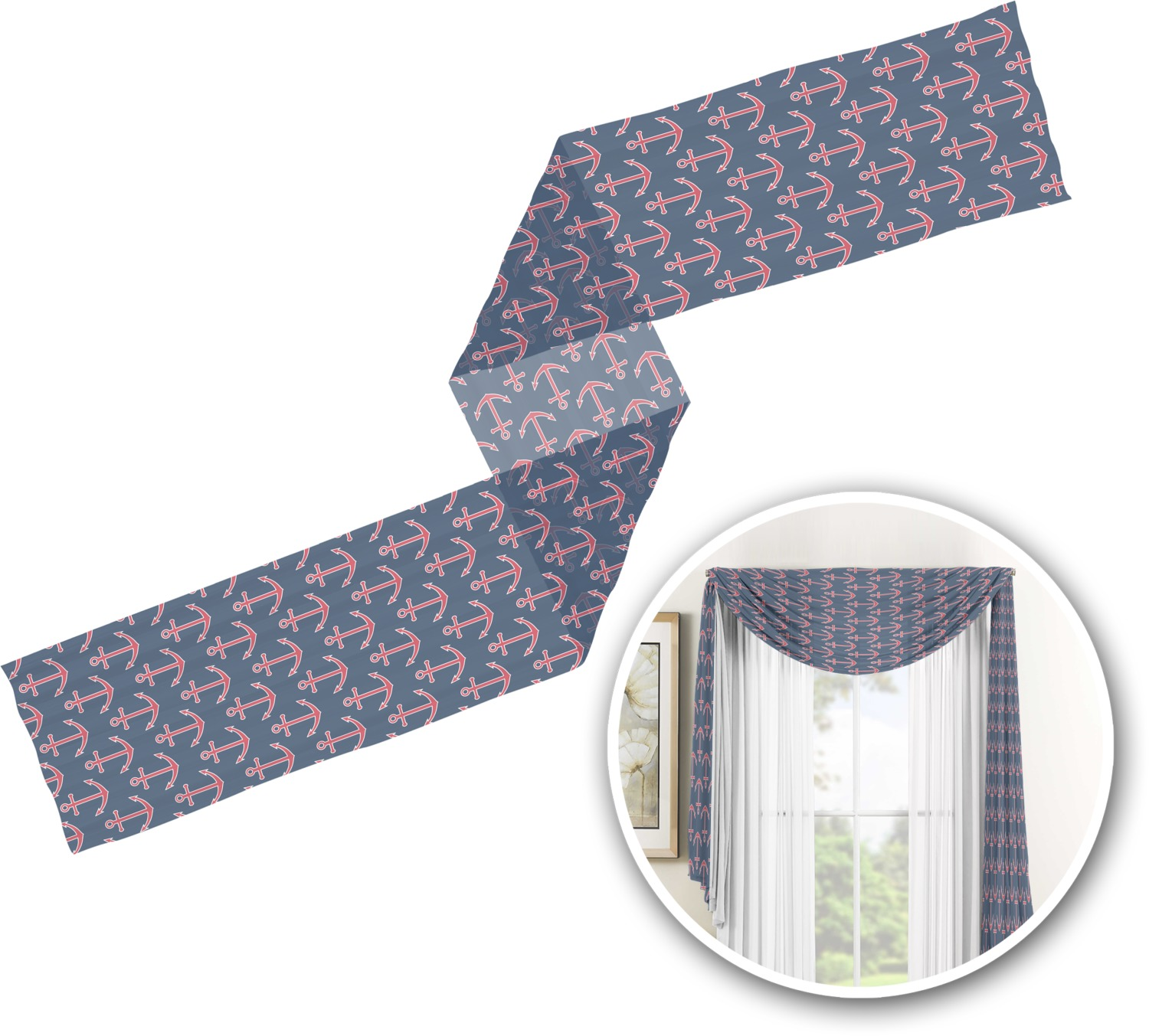 Nautical Anchors Amp Stripes Window Sheer Scarf Valance