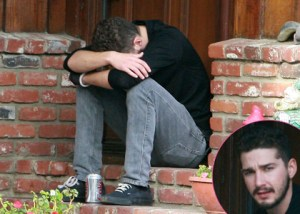 Shia LaBeouf Sitting Outside Friend's House