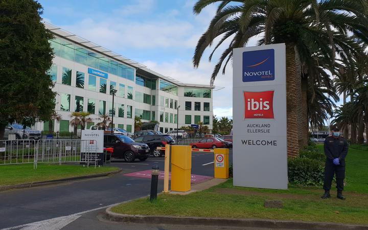 The Navy has been posted outside a Novotel being used as a managed isolation facility in Auckland