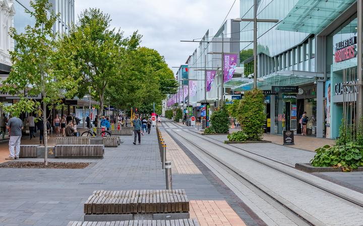 CHRISTCHURCH, NEW ZEALAND, JANUARY 21, 2020: View of a street in center of Christchurch, New Zealand