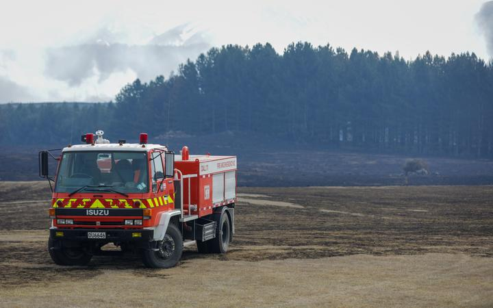 A fire truck at the scene of the fire near Lake Pukaki in the MacKenzie District.