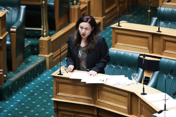 The co-leader of the Green Party Marama Davidson address the House during the last general debate for the 52nd Parliament