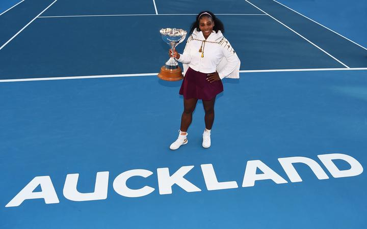 Serena Williams celebrates after winning the 2020 ASB Classic.