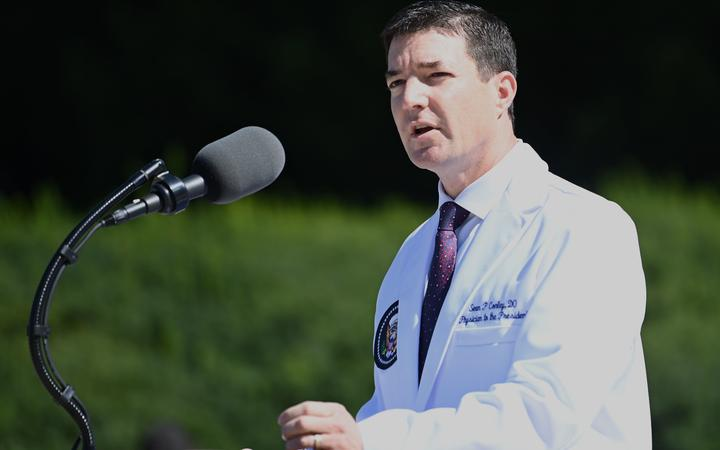 White House physician Sean Conley gives an update on the condition of US President Donald Trump, on October 3, 2020, at Walter Reed Medical Center in Bethesda, Maryland.