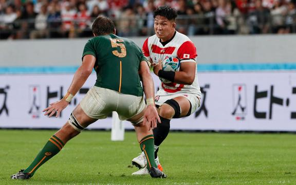 Kazuki Himeno during the first half of Japan v South Africa, Quarter Final, Rugby World Cup 2019 at Tokyo Stadium, Japan. 20th October 2019.