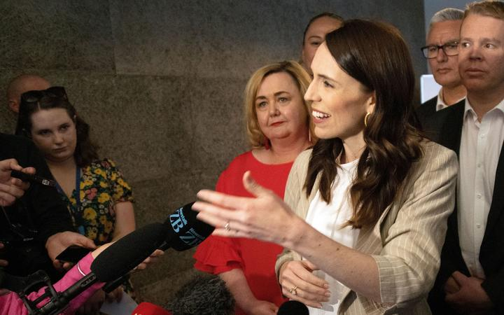 New Zealand Prime Minister Jacinda Ardern speaks to the media a day after her landslide election win, in Auckland on October 18, 2020.