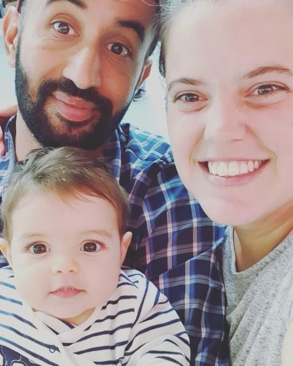 Belen Macchiavello and Hardeep Singh with their baby daughter Amy.