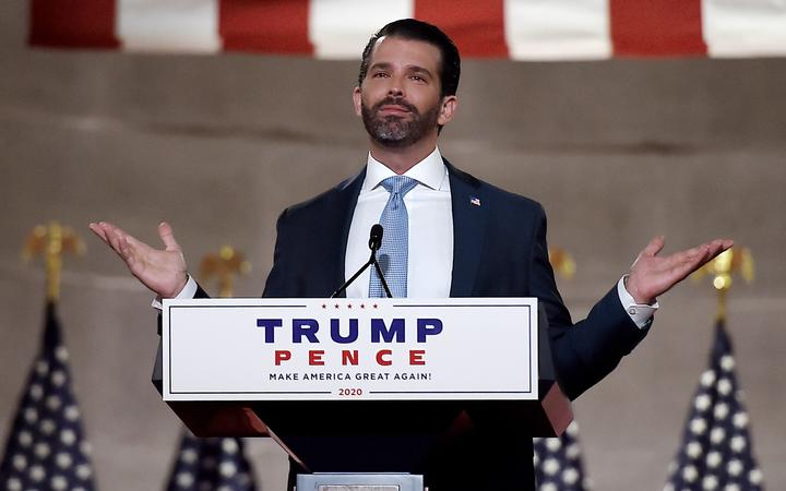 (FILES) In this file photo taken on August 24, 2020 Donald Trump Jr. speaks during the first day of the Republican convention at the Mellon auditorium in Washington, DC.