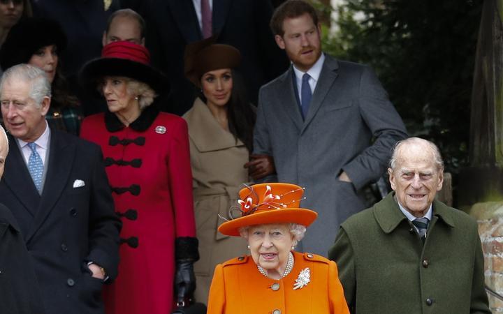 Britain's Prince Charles, Prince of Wales, Britain's Camilla, Duchess of Cornwall, Prince Harry Meghan Markle, Britain's Queen Elizabeth II, Britain's Prince Harry and Britain's Prince Philip, Duke of Edinburgh leave St Mary Magdalene Church in Sandringham, Norfolk,